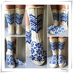 Delft blue and natural white, I adore these colours ~~ Finn socks/ suomisukat Fair Isle Knitting, Lace Knitting, Knitting Stitches, Knitting Socks, Knitting Patterns, Irish Crochet, Knit Crochet, Knitting Projects, Crochet Projects