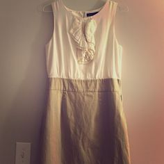 The Limited dress, size 10 Cream and khaki dress, ruffle at collar. Pearl button on back neck. Never worn. Offers welcome. The Limited Dresses Midi