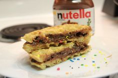 nutella waffle sandwich with sprinkles snack
