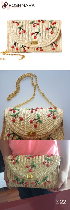 nwt cherry straw bag with gold chain Bags Shoulder Bags