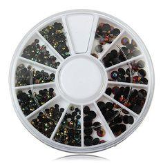 2/3/4mm Mix Size Black Glitter Rhinestone Nail Decoration Wheel