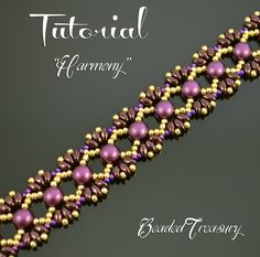 "Bead pattern with 2-hole cabochon beads, two-hole MiniDuo beads and seed beads. ""Harmony"" beading tutorial by BeadedTreasury."