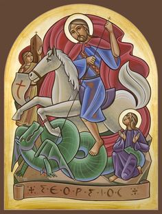 St George Religious Images, Religious Icons, Religious Art, Saint George And The Dragon, Roman Church, Vintage Holy Cards, Catholic Crafts, Russian Icons, Biblical Art
