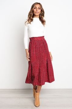 Neue rote kleine polka dot pleated midi ruffle Damen Rock plus size Herbst Office Outfits Women, Fall Outfits For Work, Spring Outfits, High Street Fashion, Street Style, Casual Party, Plus Size Herbst, Plus Size Kleidung, Mode Inspiration