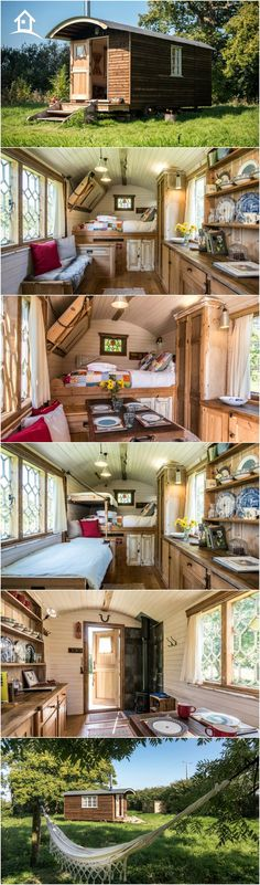 Withywood Shepherds Hut - West Sussex, England. Gorgeous custom built luxury shepherds hut in the Sussex countryside, complete with firepit, and wood cabin kitchen and bathroom. Just lovely! http://www.coolstays.com/property/withywood-shepherds-hut/17414 #coolstays #cabin #tinyhouse
