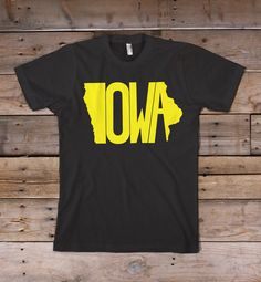 Iowa Printed on the bold colors of the Bella+Canvas short-sleeve T-shirt. Extremely soft, durable and fashion fitting. 4.2 oz., 100% combed and ringspun cotton *Machine wash cold & hang dry or dry at very low heat. Some shrinkage may occur. Please refer to the Sizing Chart to find the best fit for you. © 2013 The Stately Shirt Company
