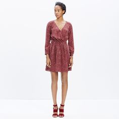 Silk Faux-Wrap Dress in Paintbrush Dot : dresses & skirts | Madewell