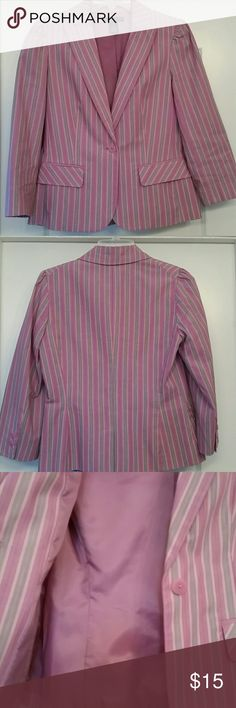 Blazer Stylish summer blazer. The colors are fun to wear! The horizontal stripes make one look slender. Has a small slit on the back, 3/4 sleeves. The shoulder detail is nice, it has a bit of a puff. Gently worn, it looks new. It's a big size 2. Apostrophe Jackets & Coats Blazers