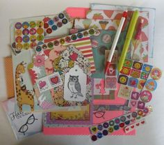 Happy Snail Mail Starter Kit, Creative Girl writing paper, decorated envelopes, pen pal fun #ALittleLemonadeStand #operationsnailmail