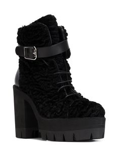 ridged platform sole lace-up boots