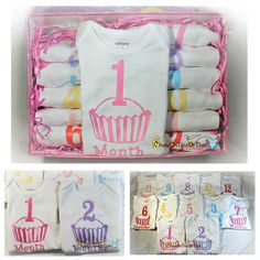 """New to my #etsy store 12 Month Cupcake Onesies Set. The onesies comes are neatly packaged in a """"girl themed"""" or a white gift box. Add a card and your set is ready for gifting. #ChewOnThisOrThat #babygift #newmom #vinyl #onesies #cupcake  #silhouetteamerica#babymonth #milestone #babies #babygirl #electroniccutter #pink #etsystore https://www.etsy.com/listing/248153072/"""