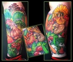 Fruits and Vegetables leg tattoo by Scotty Munster -