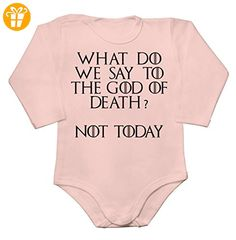 What Do We Say To The God Of Death? Not Today Quote Baby Long Sleeve Romper Bodysuit Extra Small - Baby bodys baby einteiler baby stampler (*Partner-Link)