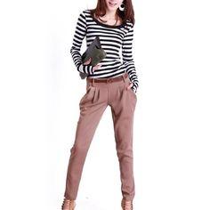 Allegra K Lady Long Sleeve Stretchy Stripes Casual Fall Top Shirt Beige Black XS Allegra K. $9.16