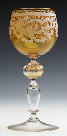 Great Murano glass goblet with lace white enamelling by Salviati, Venice, Italy c.1890 Murano Glass, Venetian Glass, Antique Glass, Mosaic Glass, Stained Glass, Glass Art, Crystal Glassware, Mason Jar Wine Glass, Mellow Yellow