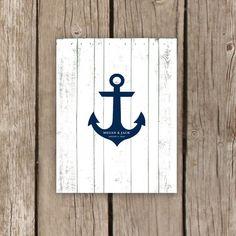Anchor Guest Book, Beach Wedding Guest Book Alternative for Summer Wedding, Nautical Wedding, Navy Blue Anchor on Wood