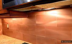 Copper Color Large Subway Backsplash Idea