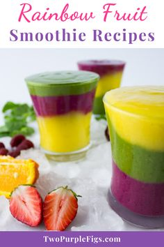 These Fruit Smoothie Recipes are crazy delicious, super refreshing! Plus Tips for making perfect fruit smoothies every time and for these fabulous layers! #smoothierecipe #rainbowfruitsmoothie #smoothiedrink  #easyrecipe | twopurplefigs.com @twopurplefigs Berry Smoothie Recipe, Fruit Smoothie Recipes, Healthy Breakfast Smoothies, Smoothie Drinks, Nutritious Smoothies, Vegan Recipes Easy, Real Food Recipes, Cooking Recipes, Kitchen Recipes