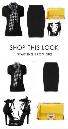 """Minimal Black Outfit + Yellow Bag"" by cristina-barberis ❤ liked on Polyvore featuring Salvatore Ferragamo, Manon Baptiste, Schutz and Jimmy Choo"