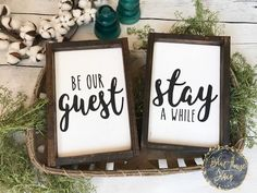 Perfect sign set for your guest room! follow the link to purchase! Be our guest sign, Wood sign, wooden sign, guest room, farm house decor, guest room decor, framed, wood sign set by BlueHouseStain on Etsy