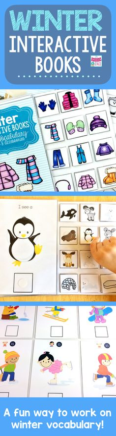 Winter interactive books are a great tool for speech therapy and special educators.  Keep your students engaged while they have fun learning winter vocabulary!