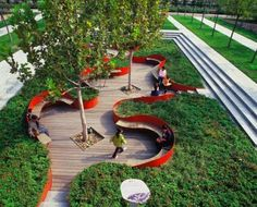 Link the City to Nature  Tianjin, China. intimate space with areas for rest and plenty of planting