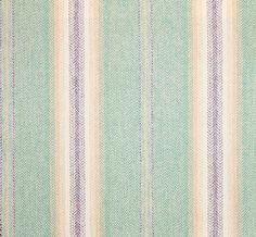 Morar Wool Fabric A herringbone celadon wool with beige, cream and purple stripe.