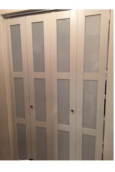 TRUporte 24 in. 3080 Series Tempered Frosted Glass Composite White Interior Closet Bi-Fold Door 247251 at The Home Depot - Mobile Mirror Closet Doors, Laundry Doors, Bifold Doors, Closet Doors Painted, Bifold Closet Doors, Entry Closet, Closet Door Makeover, Bifold Doors Makeover, Diy Closet Doors