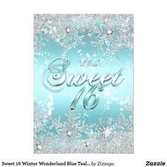 Sweet 16 Winter Wonderland Blue Teal Snowflake Card Blue Teal and Silver Winter Wonderland Sweet 16 Birthday Party Invitation. Elegant crystal diamond snowflake design. Please note: All flat image, They do not have real jewels!