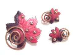 Vintage MATISSE RENOIR Red and Black Enamel Copper Leaf set