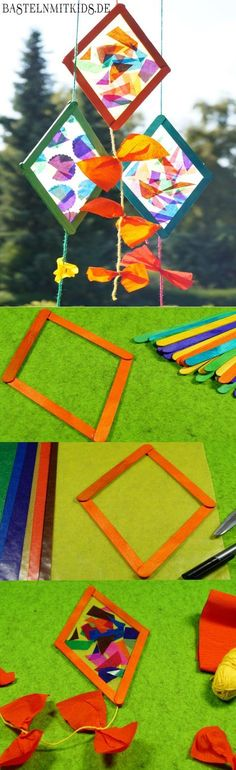 Create a mobile with popsicles and tissue paper. The website is not in English but has step-by-step pictures to show how to create it. | Sculpture Projects for Kids