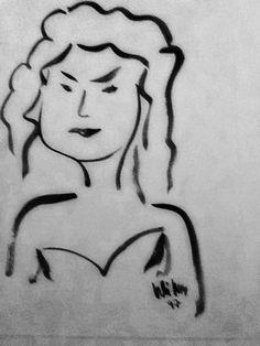 Retrat femeni , dibuix a tinta sobre paper