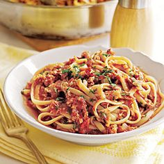 Linguine with Red Clam Sauce http://www.myrecipes.com/recipe/linguine-with-red-clam-sauce-10000001875389/