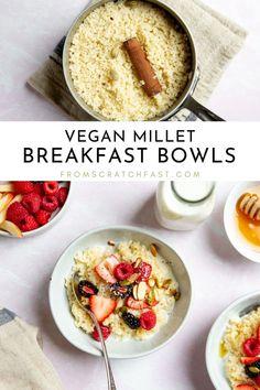 Creamy Millet Breakfast Porridge (Gluten Free, Vegan) Breakfast Porridge, Breakfast Dishes, Breakfast Time, Breakfast Ideas, Vegan Breakfast, Gluten Free Recipes For Breakfast, Gluten Free Breakfasts, Vegan Recipes, Perfect Breakfast