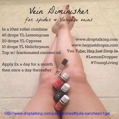 Young Living Lemongrass Essential Oil & V-6 Massage Oil for Varicose Veins. Mix 15 - 20 drops of Lemongrass with 2 ounces of V-6.
