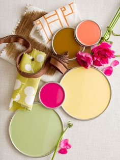 Discover Color/ Pretty, cheerful color palette with apple green, coral, yellow, and deep pink (fushcia)...love.