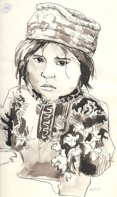 "Original drawing, ink line and ink wash, portrait of an Asian girl, black and white, 6.5x11.5"" by Janet Biehl"