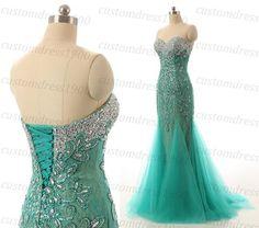 Sweetheart Prom Dress Handmade Crystal/Beading by customdress1900