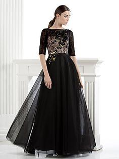 Formal Evening Dress A-line Bateau Floor-length Lace/Tulle Dress | LightInTheBox