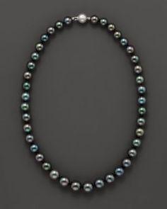 Tahitian Black Pearl Necklace, 18L