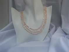 Multi strand Pink Freshwater Pearl Necklace with Swarovski Crystals and Sterling Silver Clasp