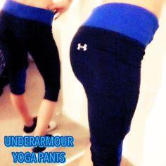 NEW UNDERARMOUR Capri yoga pants blue mesh New. UNDERARMOUR. Capri. Yoga pants. Blue and black -- UNDERARMOUR logo on the butt and inbetween hips. Blue waist band mesh knees. Under Armour Pants Leggings