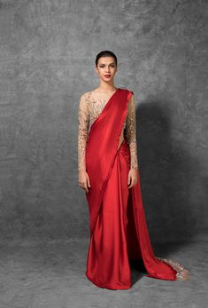 Red Color Satin Saree Embroidered Blouse From Manish Malhotra Collection. For customisation please contact our sales team through WhatsApp Saree Gown, Organza Saree, Silk Sarees, Drape Sarees, Sari, Indian Sarees, Indian Dresses, Indian Outfits, Indian Clothes