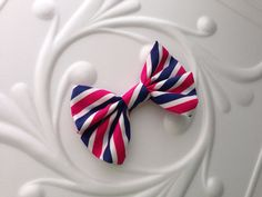 The Pink and Navy Striped Bow Tie on Etsy, $9.50