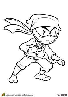 Coloriage d'un ninja armé de shurikens - Hugolescargot.com
