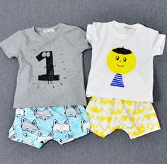 2016 New Summer Children's Tops Boy Kids Number printed Tshirt Baby Girls cute 1 2 3 4 5 T Shirt Short Sleeve Tee Shirt Enfant