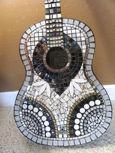 SILVER and Black Glitz Mosaic Guitar FREE SHIPPING//Mosaics//Art//Mosaic Art//Home Decor//Wall Decor//Mixed Media Art//One of a Kind Art