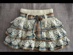 Fabric and crocheted lace skirt Baby Tulle Dress, Baby Skirt, Little Girl Dresses, Baby Dresses, Kids Dress Wear, Dress Girl, Crochet Skirts, Crochet Baby Clothes, Baby Knitting Patterns