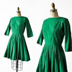 Vintage 1950's Kelly Green Cotton Dress by BombyxVintage on Etsy, $95.00