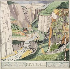 "Rivendell painted by Tolkien. Art by J.R.R. Tolkien.  Scanned from ""The Art of the Hobbit."""